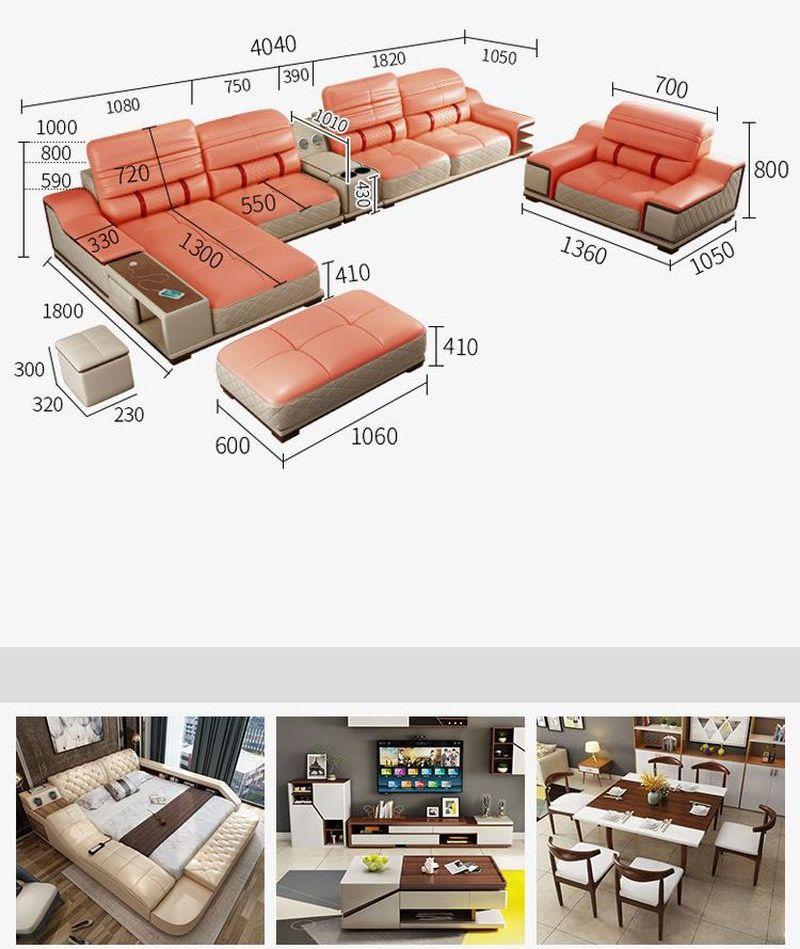 Kích cỡ tổng thể bộ sofa phòng khách, và sản phẩm gợi ý đồng bộ