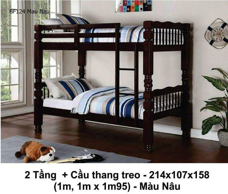 Giường 2 tầng đẹp dành cho bé và người lớn BF124 màu nâu