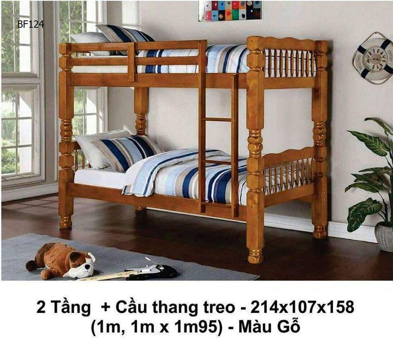 Giường tầng cầu thang treo màu nâu mã BF 124 giá rẻ đẹp.
