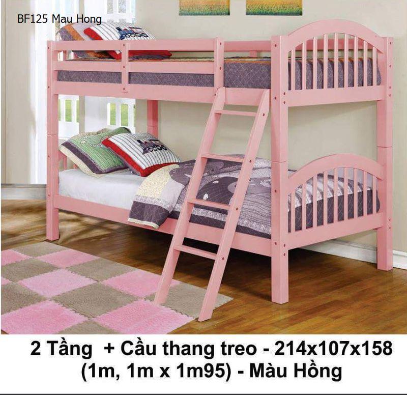 Giường 2 tầng giá rẻ BF125 màu hồng