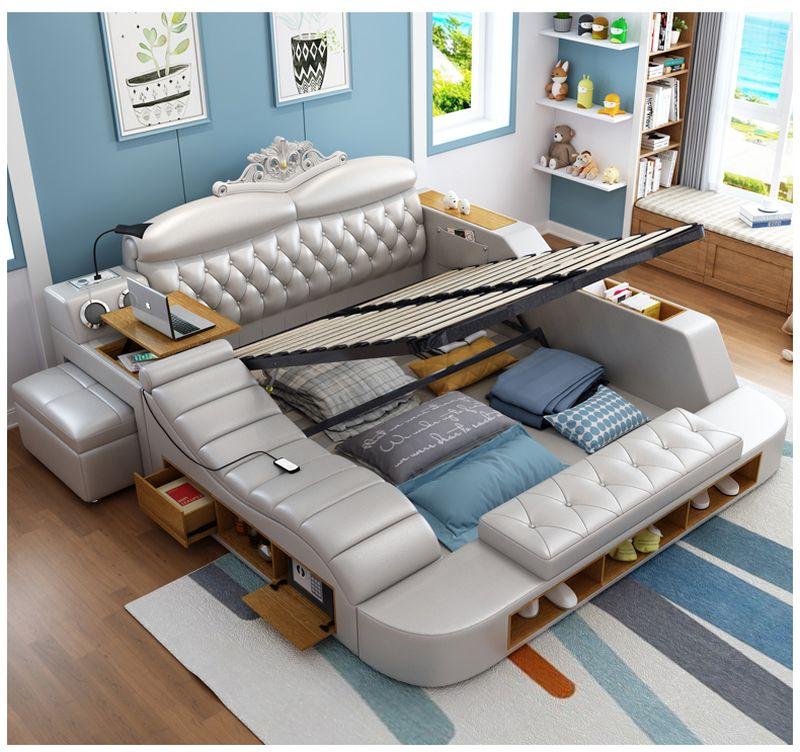 Giường hiện đại bọc da có dát giường nâng lên hạ xuống GN018 -1