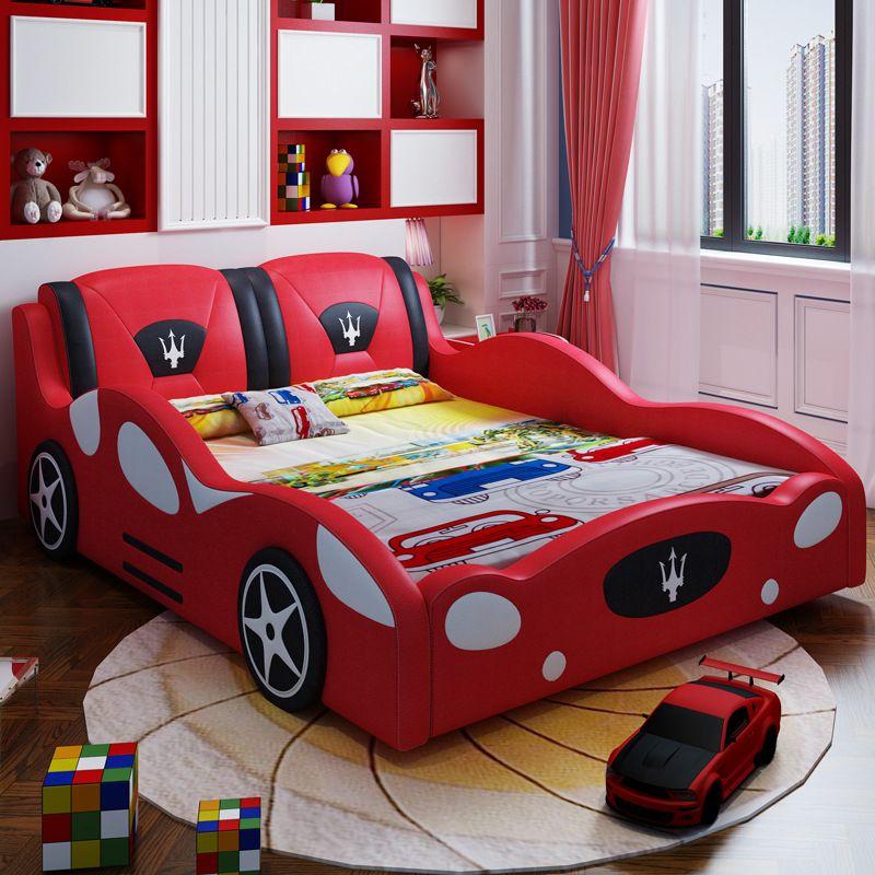 Giường cho bé kiểu dáng ô tô xe đua F1 GTE121 màu đỏ đô