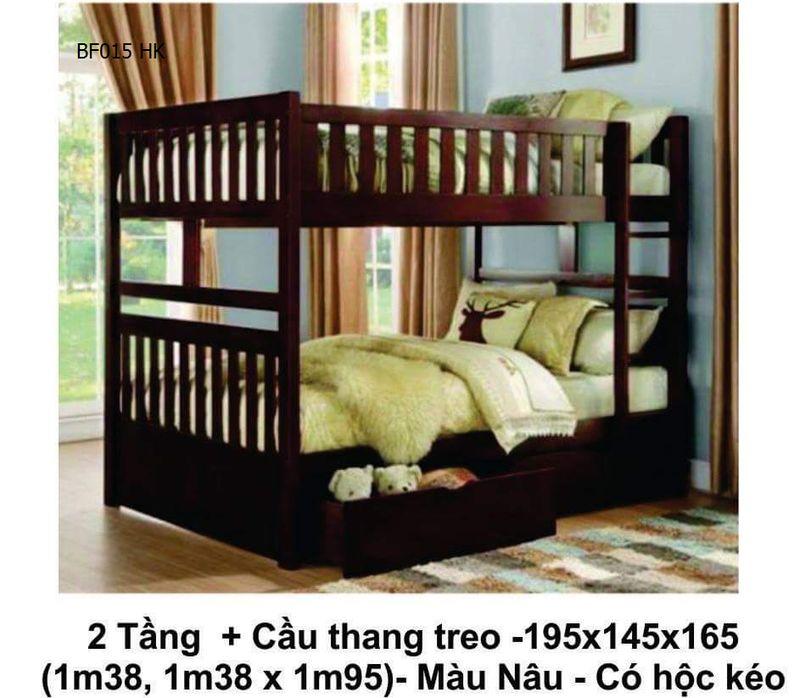 Mẫu giường hai tầng giá rẻ BF015 có hộc kéo