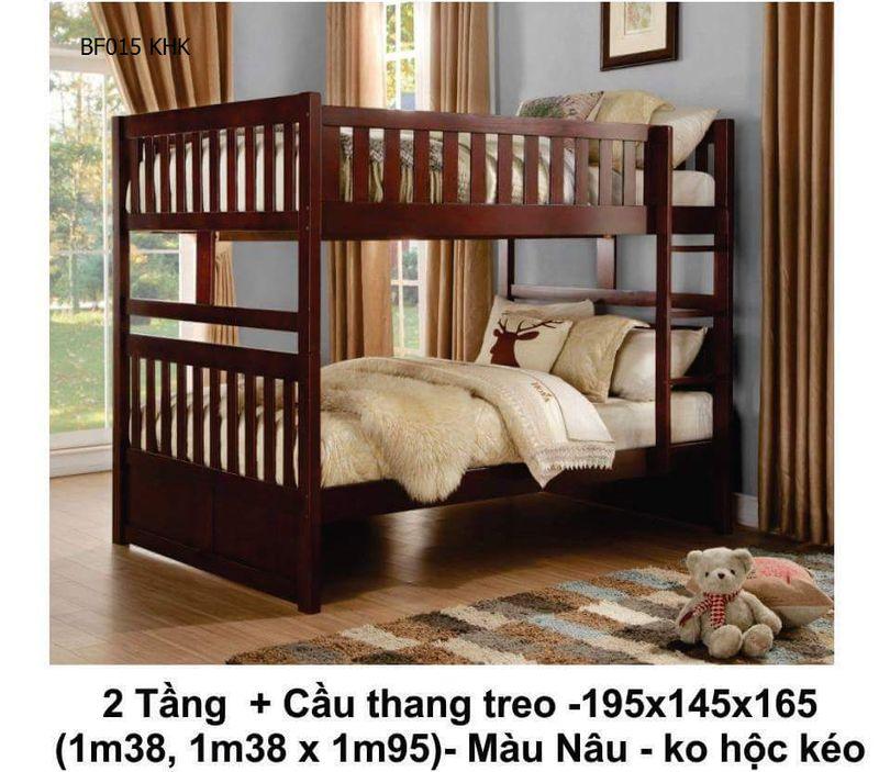 Mẫu giường hai tầng giá rẻ BF015 không có hộc kéo