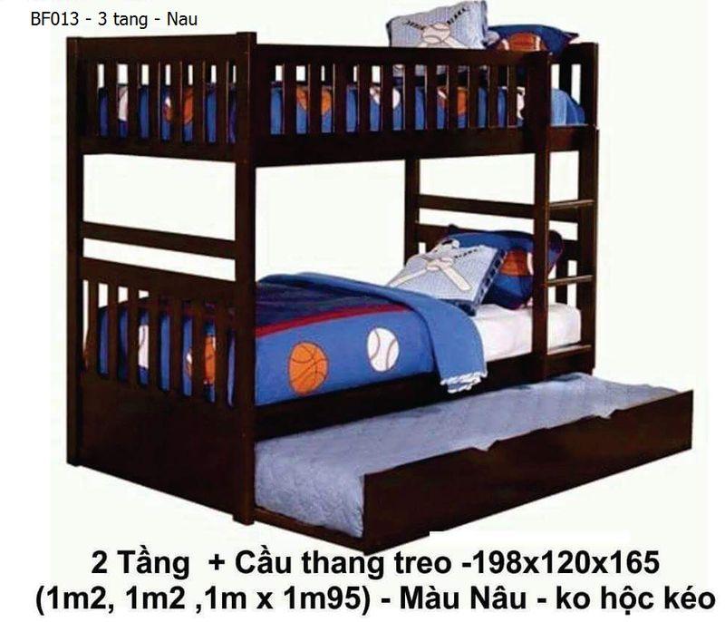 Mẫu giường tầng giá rẻ BF013 màu nâu 3 tầng, có giường phụ