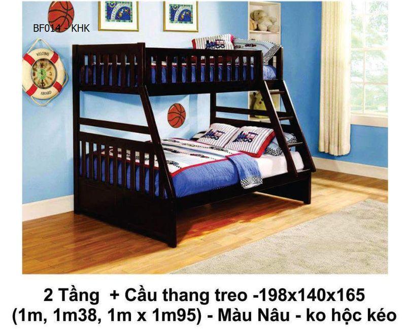 Mẫu giường 2 tầng cho bé giá rẻ đẹp BF014 màu nâu không có 2 hộc kéo