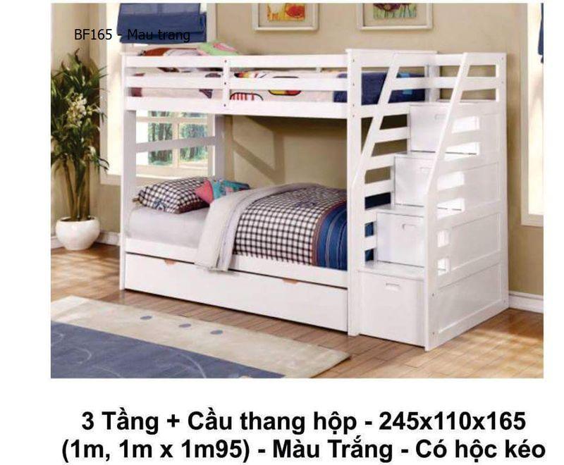 Giường 2 tầng giá rẻ BF165 màu trắng