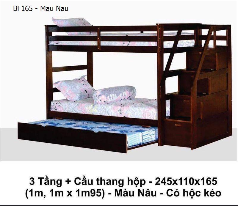 Giường 2 tầng cho trẻ em BF165 có giường phụ + cầu thang hộp