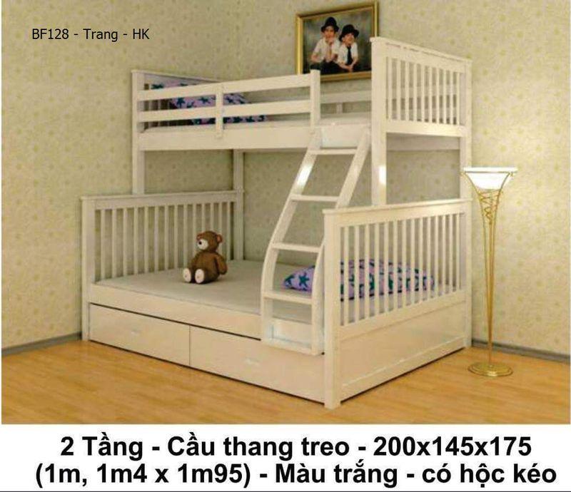 Giường tầng giá rẻ đẹp BF128 màu trắng có ngăn kéo chứa đồ