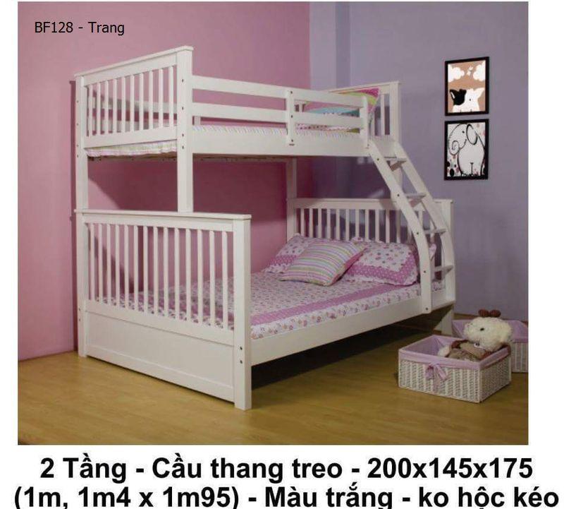 Giường tầng giá rẻ cầu thang treo không có hộc kéo mã BF128