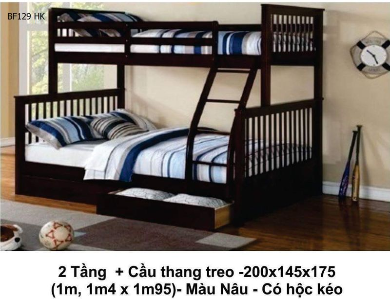 Giường tầng giá rẻ có hộc kéo BG129 màu nâu