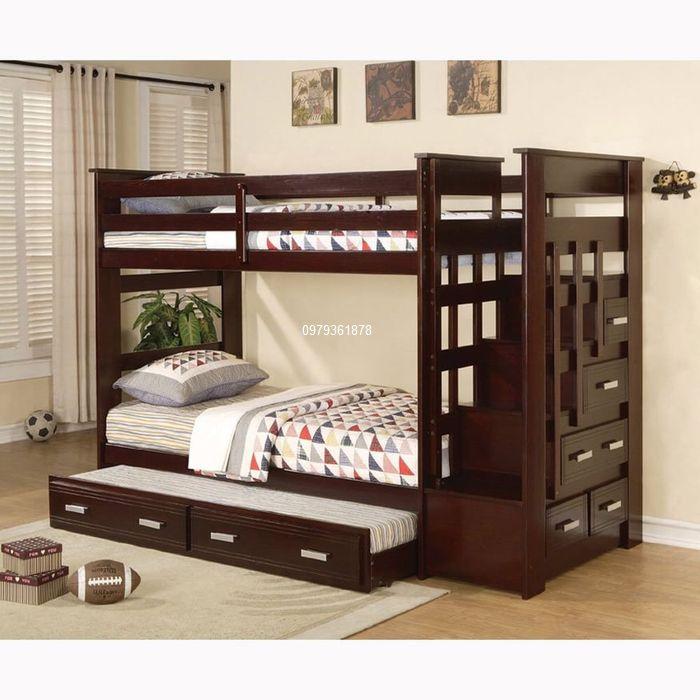Giường 3 tầng có ngăn kéo giá rẻ gỗ thông tự nhiên
