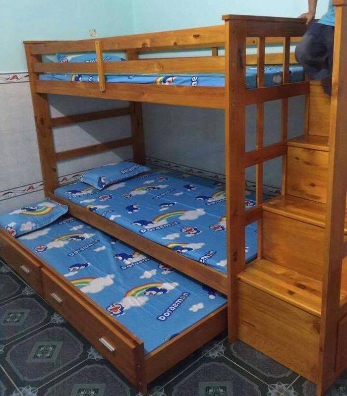 Giường tầng giá rẻ màu vàng gỗ