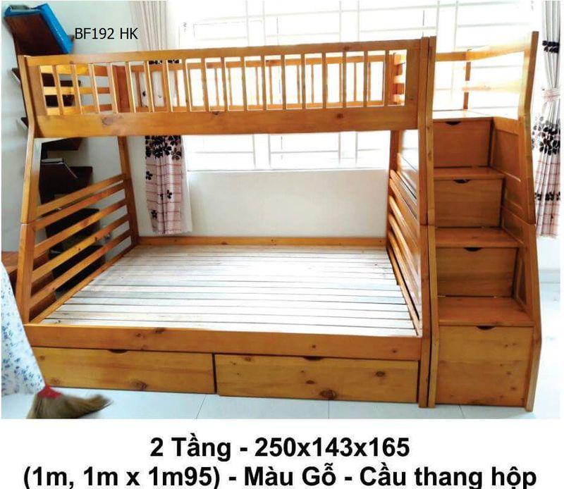 Giường tầng giá rẻ BF192 màu gỗ ( cánh dán) - cầu thang hộp