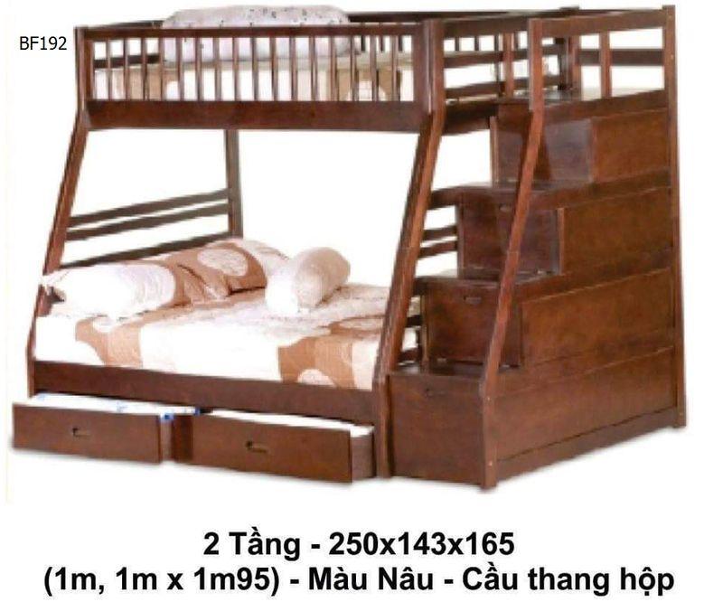 Giường 2 tầng giá rẻ đẹp dành cho sinh viên học sinh, trẻ em BF192 màu nâu - cầu thang hộp
