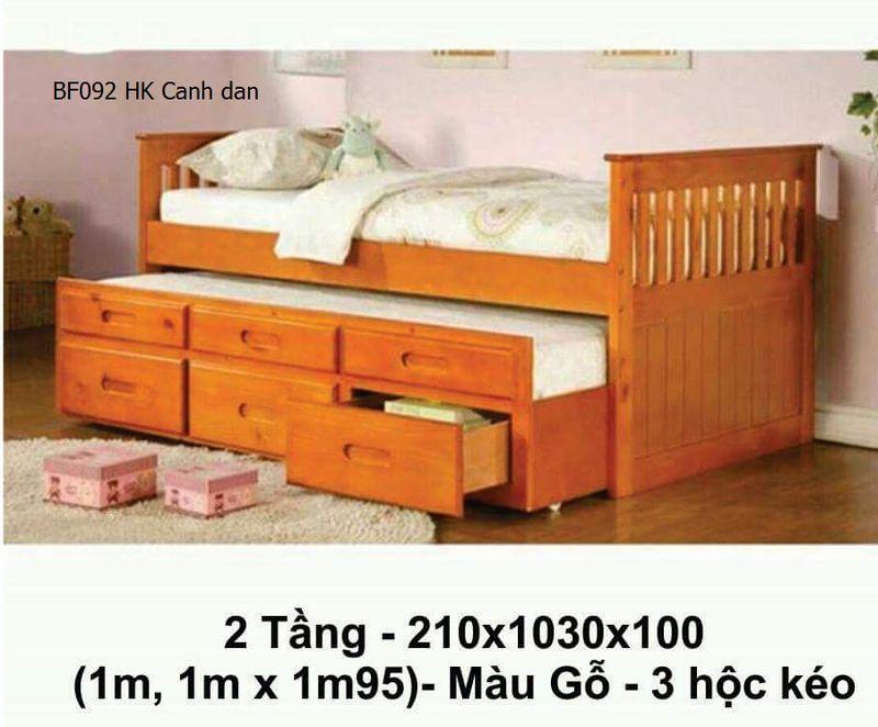 Giường tầng lùn BF092 màu gỗ cánh dán,