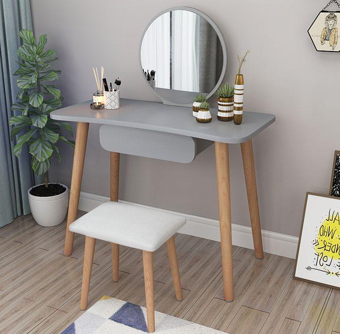 Bàn trang điểm Thiết kế 4 chân thẳng, gương tròn, bàn ngắn gọn