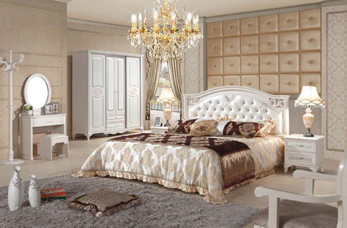 Giường ngủ tân cổ điển màu trắng