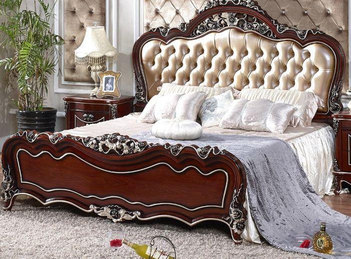 Giường ngủ gỗ tân cổ điển làm bằng gỗ sồi đỏ