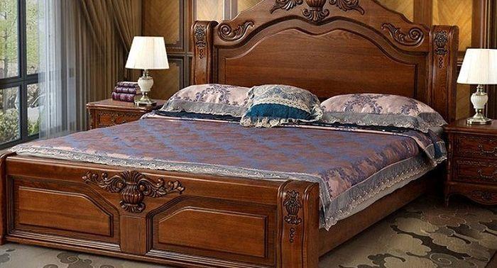 Giường gỗ tân cổ điển Chạm khắc họa tiết sang trọng