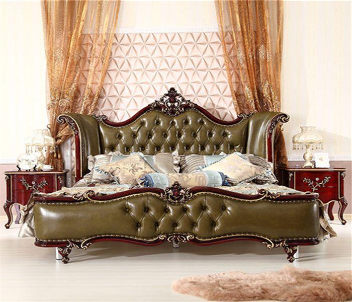 Giường tân cổ điển cao cấp màu xanh