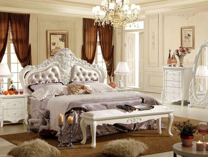 Giường tân cổ điển sang trọng Đầu giường chạm khắc tinh tế và tỉ mỉ