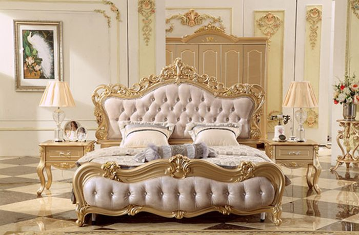 Giường ngủ gỗ tân cổ điển chất liệu cao cấp, độ bền chắc chắn