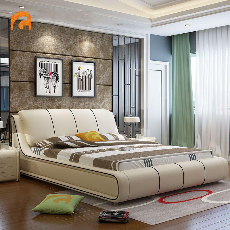 Giường ngủ hiện đại bọc da đẹp sang trọng GN002 màu trắng