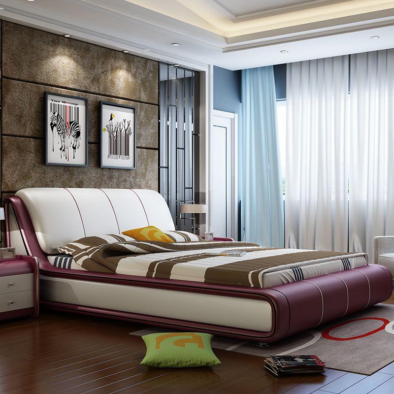Giường ngủ hiện đại bọc da đẹp sang trọng GN002 màu mận chín