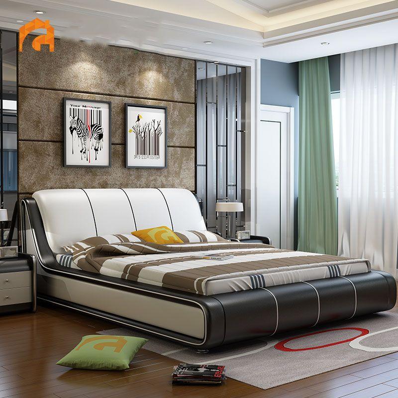 Giường ngủ hiện đại bọc da đẹp sang trọng GN002 màu nâu