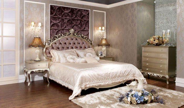 Giường cổ điển bọc mút chạm khắc sang trọng châu âu