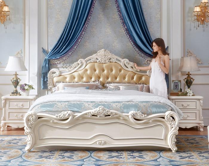 Giường ngủ gỗ đầu giường bọc da thiết kế kiểu dáng tân cổ điển