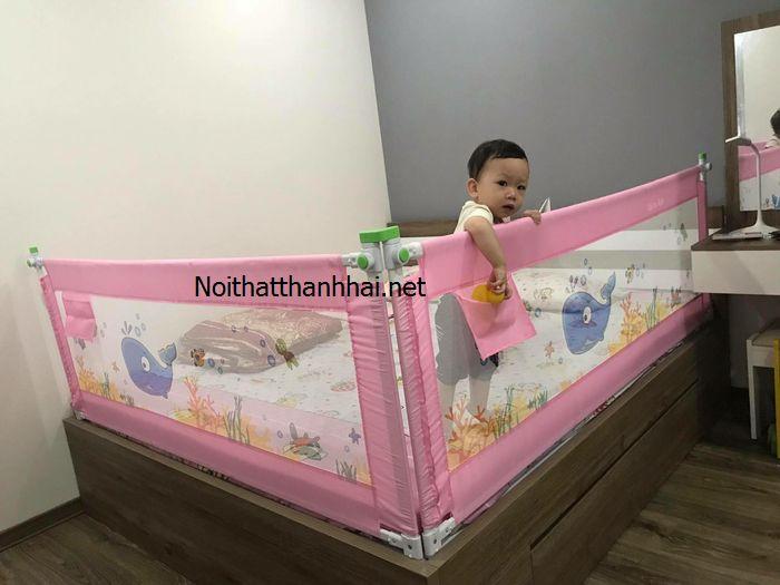 Thanh chắn giường, chặn quây giường cho bé gái màu hồng