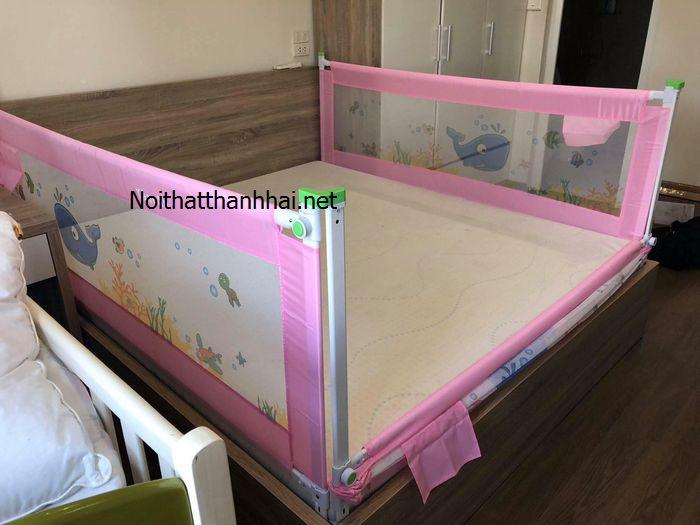 Thanh chắn giường, chặn quây giường cho bé gái màu hồng 2