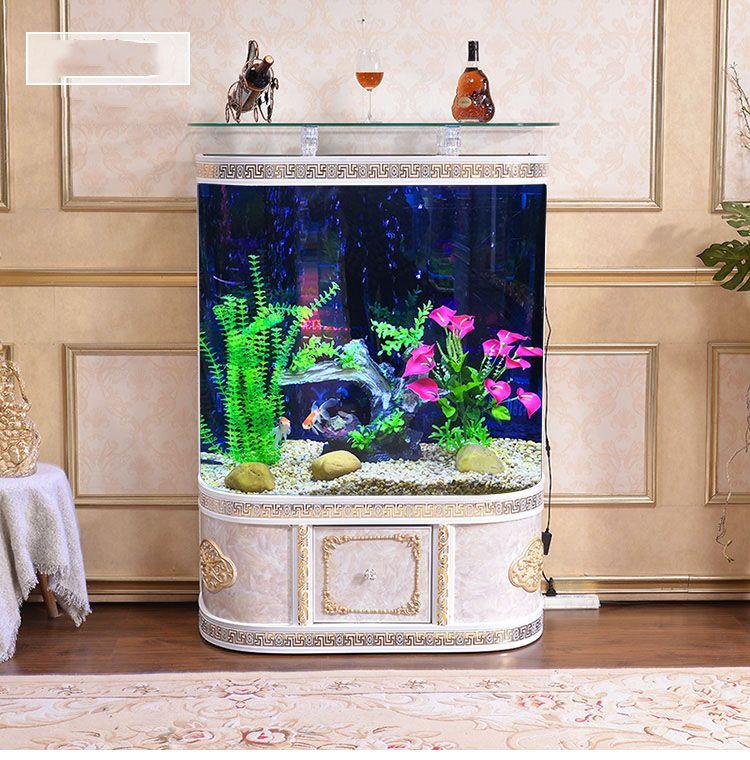 Bể cá thủy sinh BC005 hoa văn vuông ở kệ màu trắng