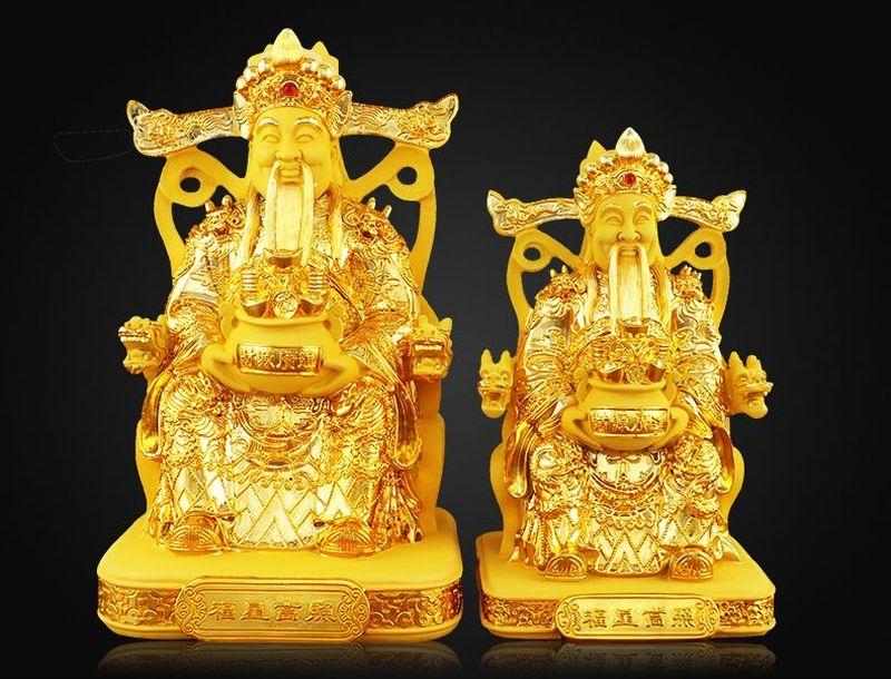 Tượng thần tài sơn màu nhũ vàng bómg