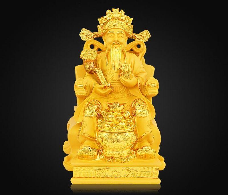 Tượng thần tài sơn màu nhũ vàng 2