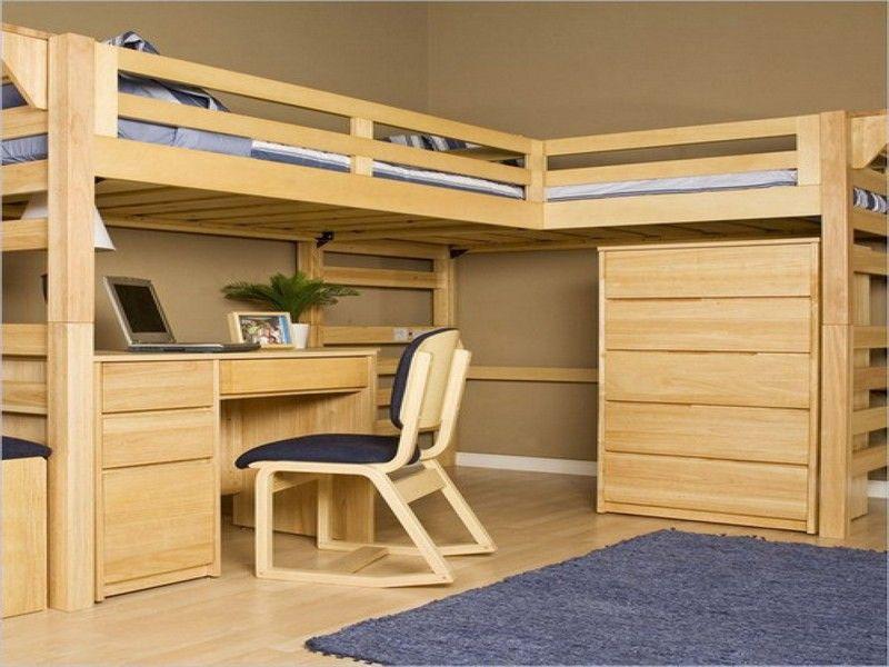Giường tầng góc chữ L gỗ tự nhiên
