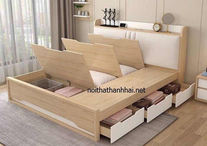 Mẫu giường ngủ gỗ đẹp có ngăn kéo chứa đồ