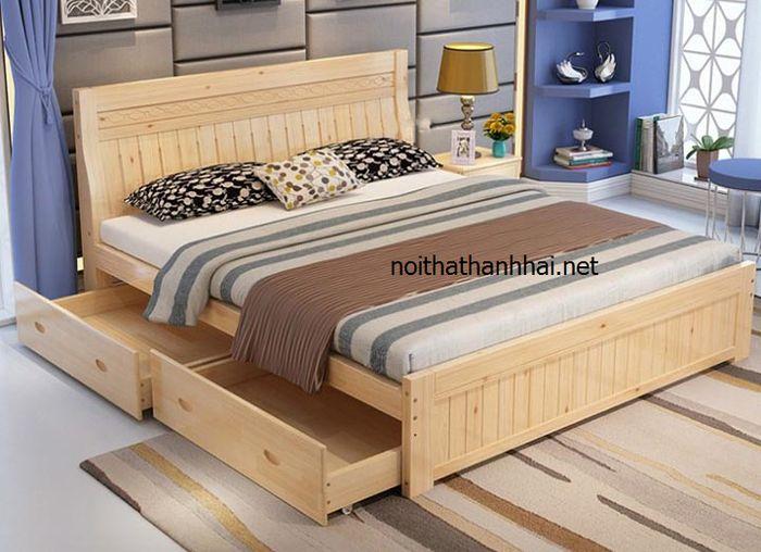 Mẫu giường ngủ có ngăn kéo cho gia chủ mệnh Thổ