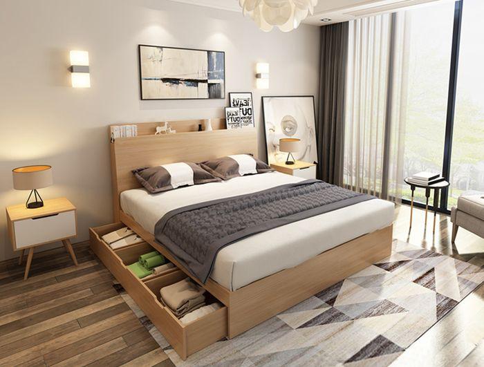 Giường ngủ có ngăn kéo giá rẻ hợp mệnh Kim