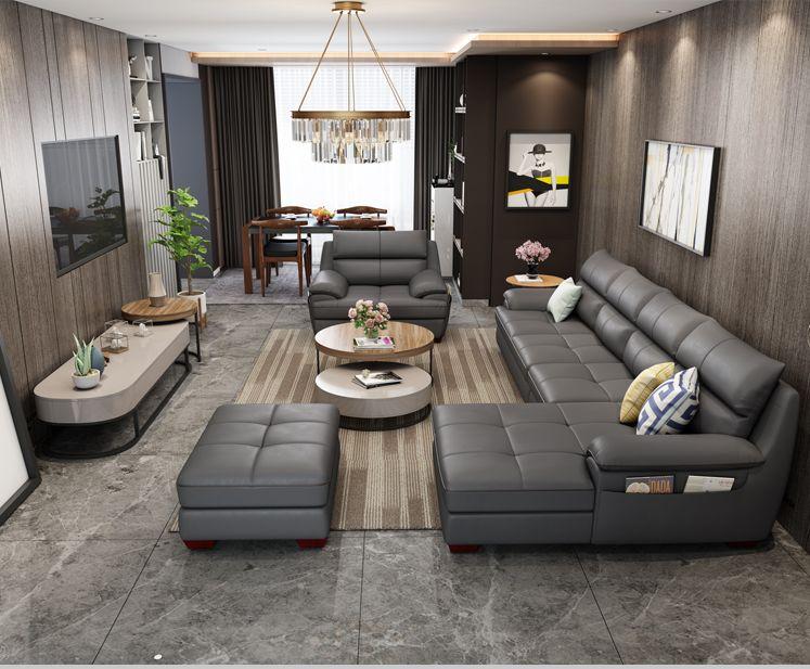 Bộ ghế sofa cao cấp bọc da Châu Âu SF017 màu xám đen