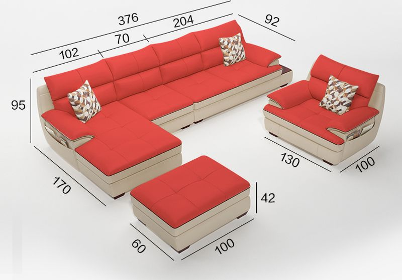 Kích cỡ Bộ ghế sofa cao cấp bọc da Châu Âu SF017