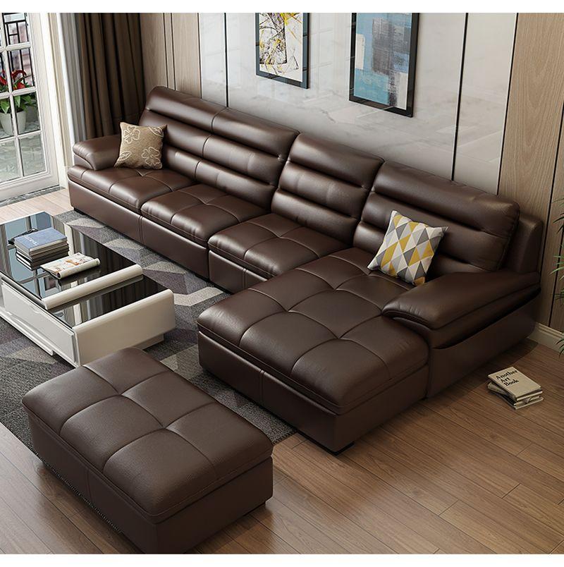 Bộ ghế sofa phòng khách chữ L  SF021 màu nâu