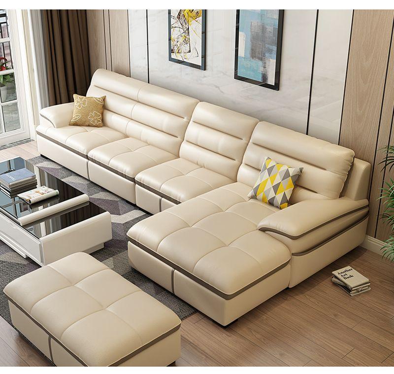Bộ ghế sofa phòng khách chữ L  SF021 màu kem