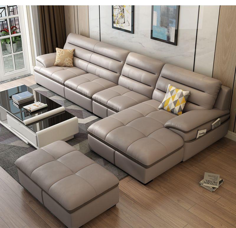Bộ ghế sofa phòng khách chữ L  SF021 màu ghi xám