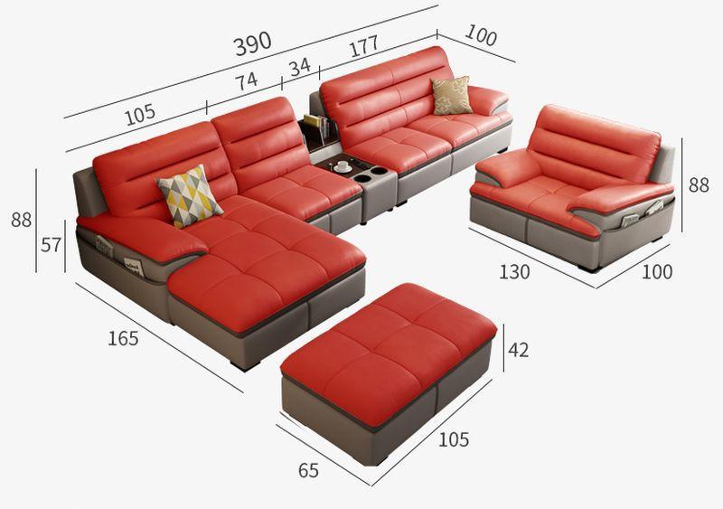Kích cỡ Bộ ghế sofa phòng khách chữ L  SF021