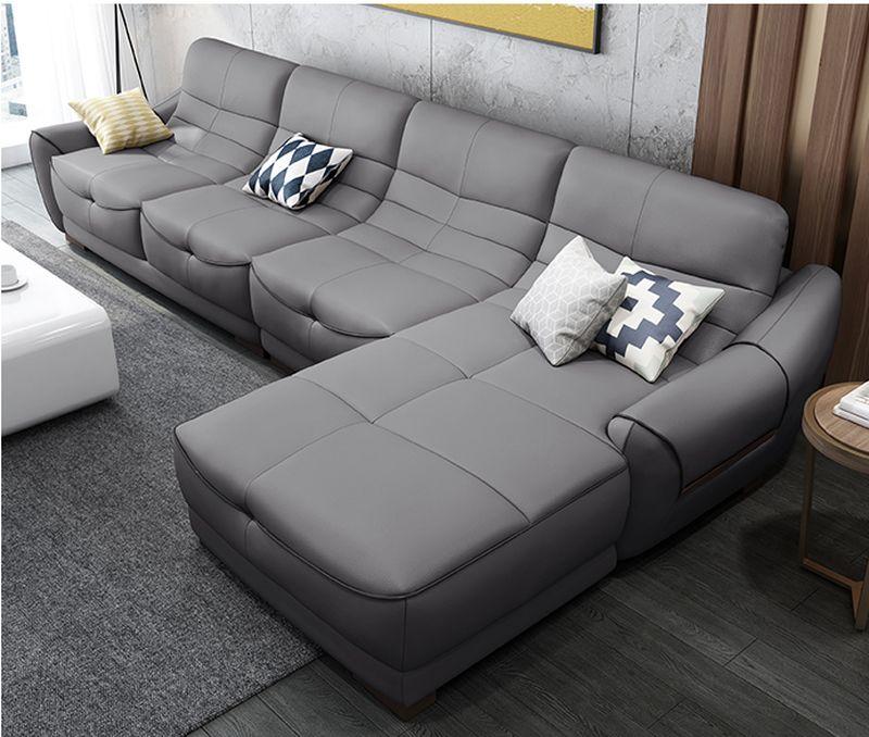 Ghế sofa chữ L hiện đại bọc da có ghế nằm SF024 màu xám đen