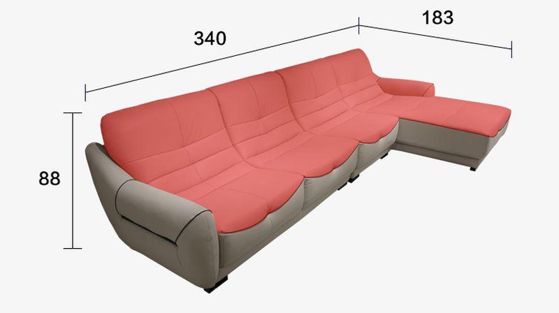 Kích thước Ghế sofa chữ L hiện đại bọc da có ghế nằm SF024