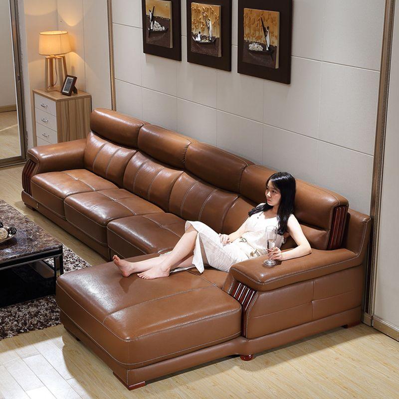Bộ ghế sofa chữ L da màu nâu mạnh mẽ SF019